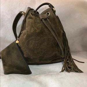 Authentic Chanel Suede bucket bag